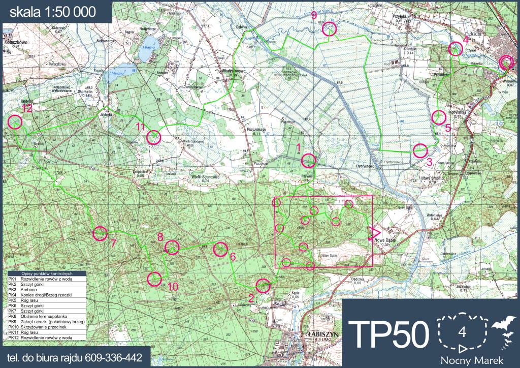 Trasa TP50 z optymalnym wariantem. Kluczowy przebieg na PK9