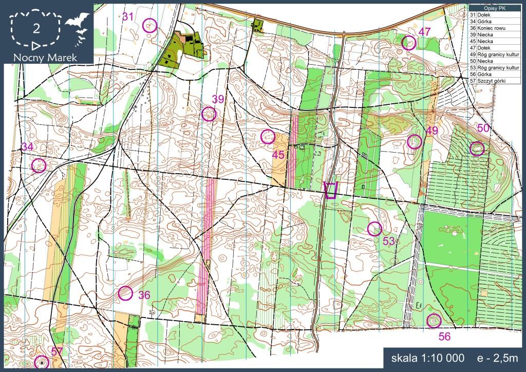 Przykład dokładnej mapy do orientacji sportowej w skali 1:10 000