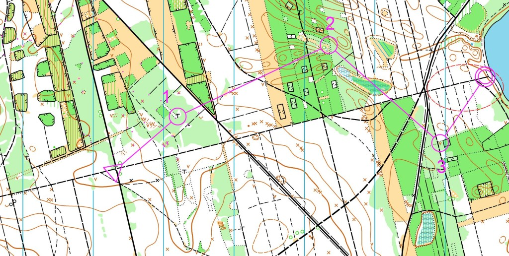 Mapa z zaznaczoną krótką trasą.